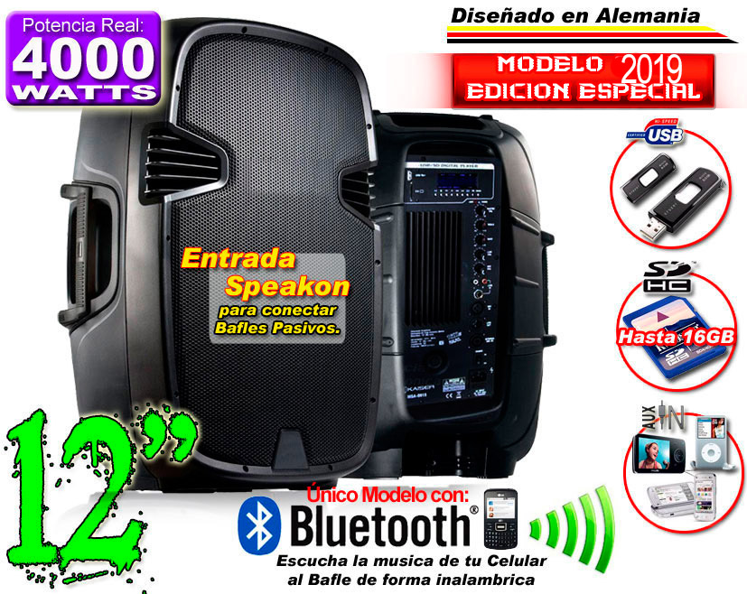 Bafle Bocina Plastificado Bluetooth 12
