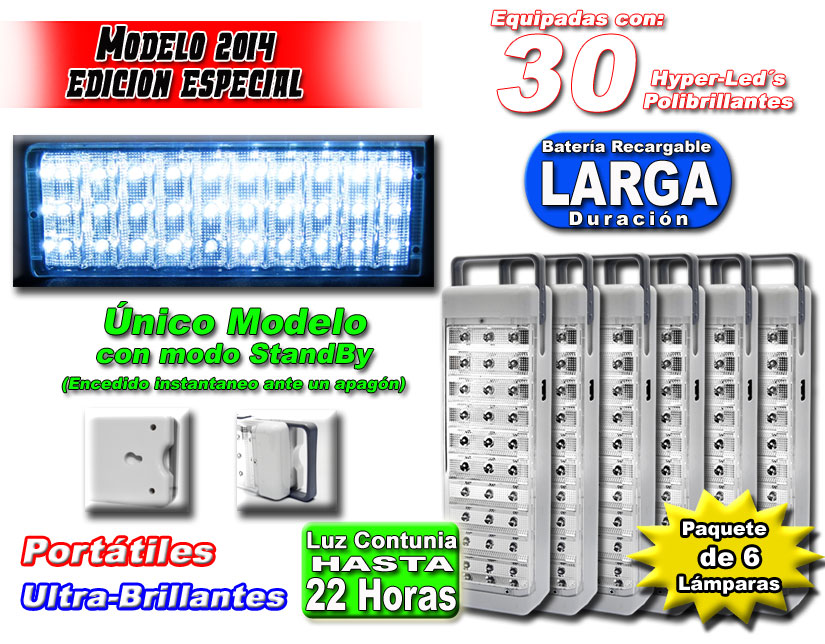 Pack 6 Lamparas Emergencia