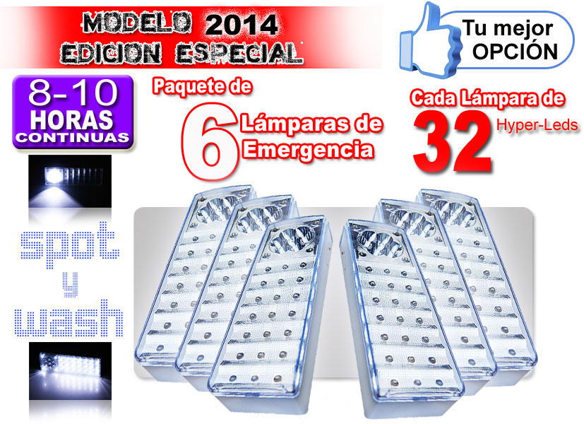 Pack 6 Lamparas 32 Leds